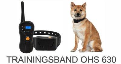 Trainingsband type 998-630 voor hond 600 meter, zwemwatervast, 16 levels instelbaar, geluid en trillen.